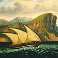 Felucca Off Gibraltar Fortifications by Thomas Chambers