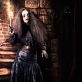 Female Jester Walking Inside Dark Castle Stairwell by Jorgo Photography - Wall Art Gallery