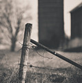 Fence Post In Black And White by David Jilek