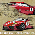 Ferrari 360 Michelotto Le Mans Race Car. Two Drawings One Print by Drawspots Illustrations