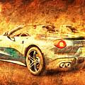 Ferrari F60 America, Golden Poster, Birthday Gift For Men by Drawspots Illustrations