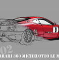 Ferrari Michelotto Race Car. Handmade Drawing. Number 9 Le Mans by Drawspots Illustrations