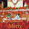 Festive Merry Christmas Card by Irina Sztukowski
