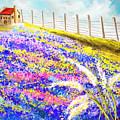 Field Of Blue - Bluebonnet Art by Lourry Legarde