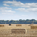 Field With Straw Bale And Center Pivot Sprinkler System Agricult by Goce Risteski