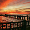 Fiery Evening At The Pier  by Ola Allen