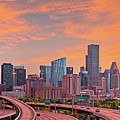 Fiery Sunset Panorama Of Downtown Houston Skyline  by Silvio Ligutti