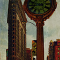 Fifth Avenue Clock And The Flatiron Building by Chris Lord