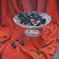 Figs And Grapes On Red  by Kateryna Bortsova