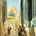Figures In A Street Before A Mosque by Richard Karlovich Zommer