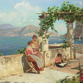 Figures On A Terrace In Capri  by Robert Alott