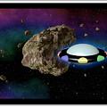 Film Frame With Asteroid And Ufo by Miroslav Nemecek