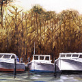 Fine Art Traditional Oil Painting 3 Workboats Chesapeake Bay by G Linsenmayer