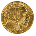 Fine Gold Buffalo Coin On White Background  by Thomas Baker