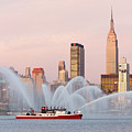 Fire Boat And Manhattan Skyline I by Clarence Holmes