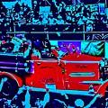 Fire Engine Red In Blue by Paula Baker