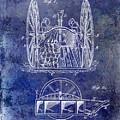 Fire Hose Cart Patent Blue by Jon Neidert
