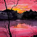 Fire In The Sky    Lake Arrowhead Maine by Brenda Owen