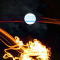 Fire Moon Abstract Moonlit Night by Jane McDougall