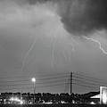 Fire Rescue Station 67  Lightning Thunderstorm Black And White by James BO Insogna