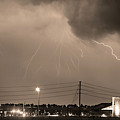 Fire Rescue Station 67  Lightning Thunderstorm Sepia Black And W by James BO  Insogna