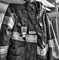 Fireman - Saftey Jacket Black And White by Paul Ward