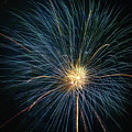 Firework Celebration Blue And Gold Square by Terry DeLuco