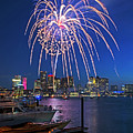 Fireworks Over The Boston Skyline Boston Harbor Illumination Streaming Down by Toby McGuire