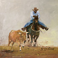 First Bulldogger Bill Picket Oil Painting By Kmcelwaine  by Kathleen McElwaine