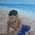 First Day At The Beach by Carrie Mayotte