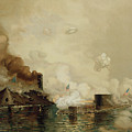 First Fight Between Ironclads by Julian Oliver Davidson