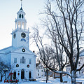 First Parish Church Manchester Ma North Winter Snow by Toby McGuire