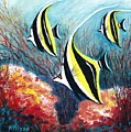 Moorish Idol Fish And Coral Reef by Allison Constantino