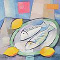 Fish And Lemon Painting by Lutz Baar