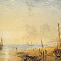 Fisherfolk On The Shore Near Dover At Sunset by Anthony Vandyke Copley Fielding