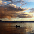 Fisherman At Sunset On Lake Titicaca by James Brunker