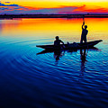 Fisherman Boat On Summer Sunset, Travel Photo Poster by Long Shot