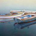 Coastal Wall Art, Fisherman In A Calm, Fishing Boat Paintings by Rinaldo Skalamera