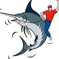 Fisherman Riding Marlin by Aloysius Patrimonio