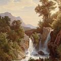 Fishermen By The Waterfall by August Friedrich Kessler
