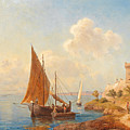 Fishermen On The Dalmatian Coast by Gottfried Seelos