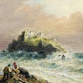 Fishermen On The Rocks Before A Castle by MotionAge Designs