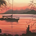 Fishing At Sunset by Suzanne  Marie Leclair