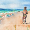 Fishing At The Beach Watercolor by Maria Reichert