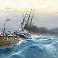 Fishing Boat And Steamship by Vasilios Chatzis
