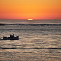 Fishing Boat At Sunrise. by John Greim