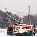 Fishing Boat Emma Rose In Winter Cape Cod by Matt Suess