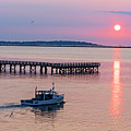 Fishing Boat Going By The Fishing Pier At Sunrise Lynn Ma by Toby McGuire
