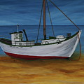 Fishing Boat On Baltic Sea Beach by Christiane Schulze Art And Photography