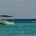 Scuba Boat On Turquoise Water by Cheryl Baxter